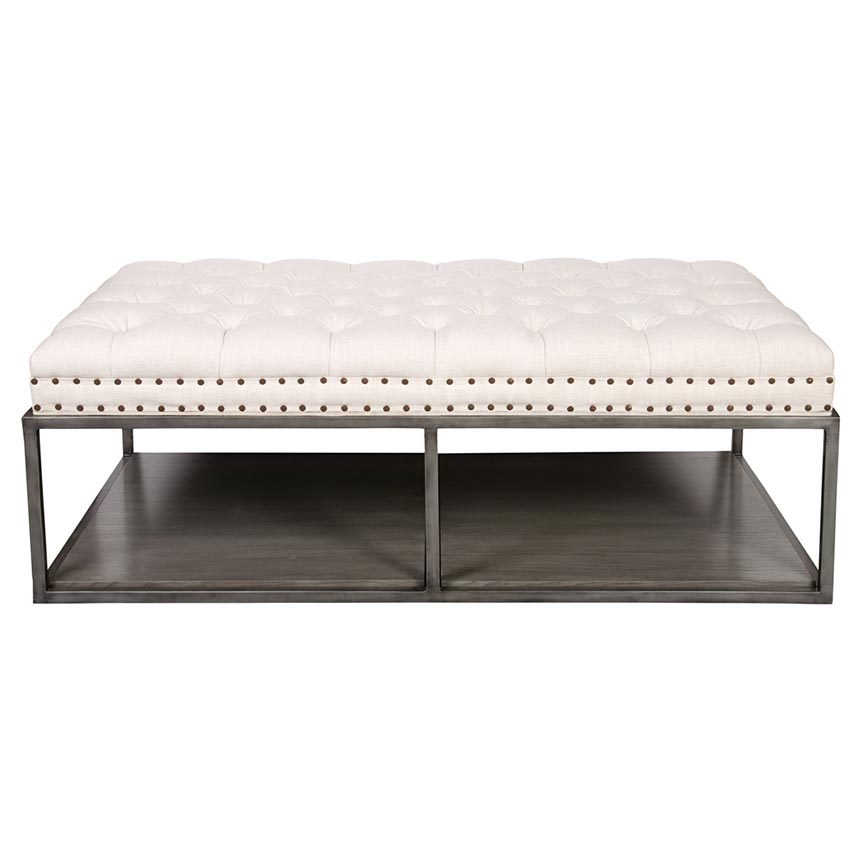 Rectangular Leather Ottoman Coffee Table