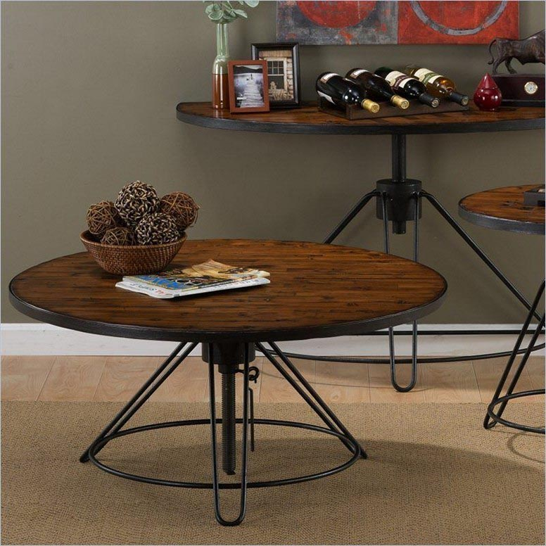 Round Adjustable Height Coffee Table
