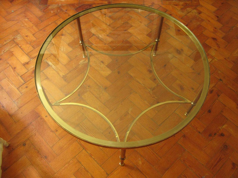 Round Brass Coffee Table