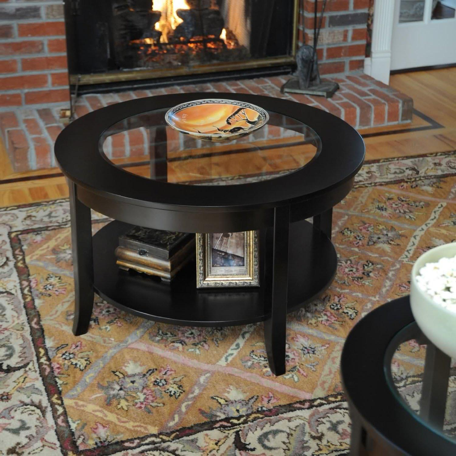 Round espresso coffee table coffee table design ideas for Round glass coffee table top
