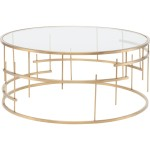 Round Glass Coffee Table Gold