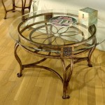 Round Glass Top Coffee Table with Metal Base