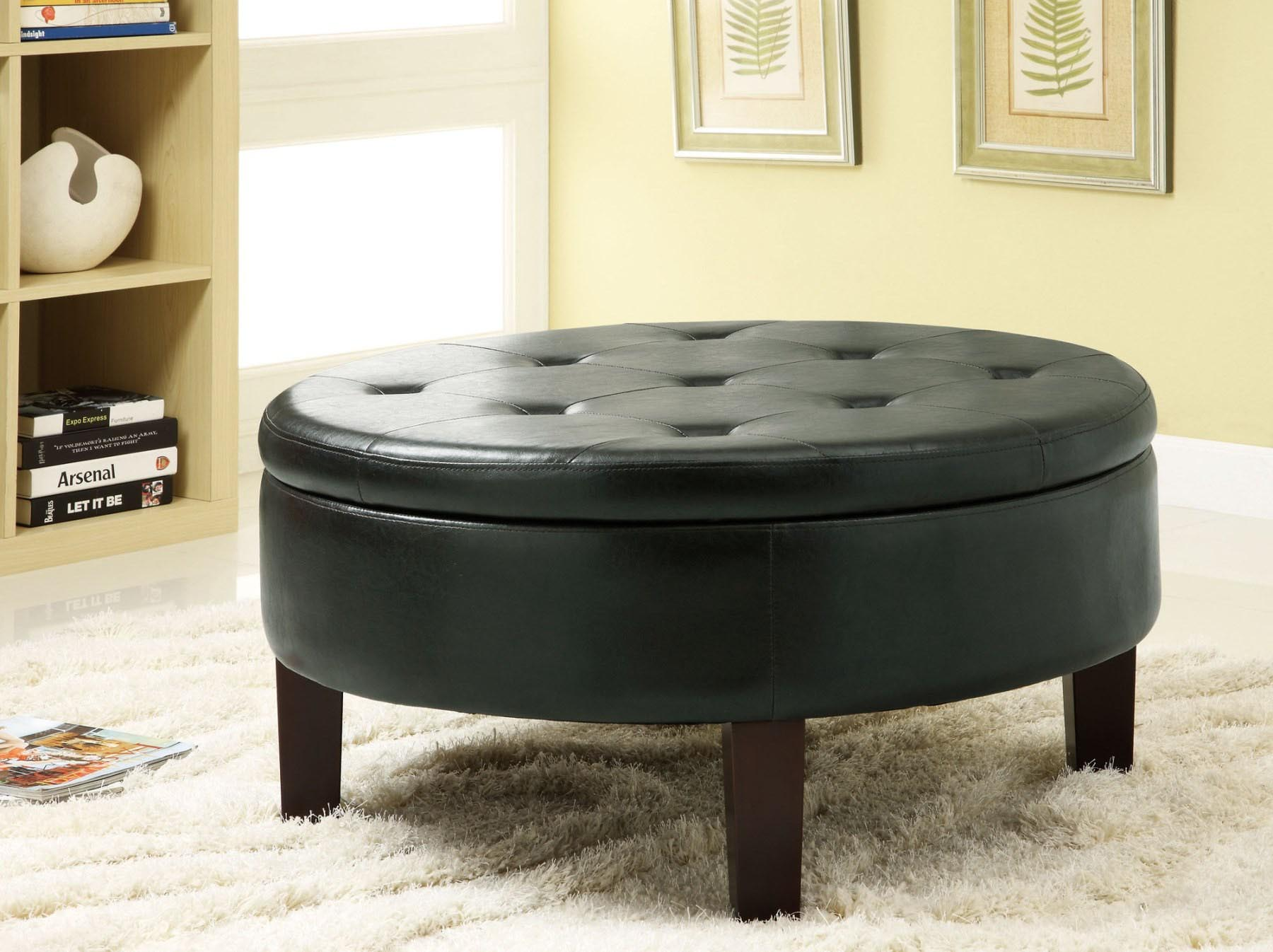 Round Leather Coffee Table