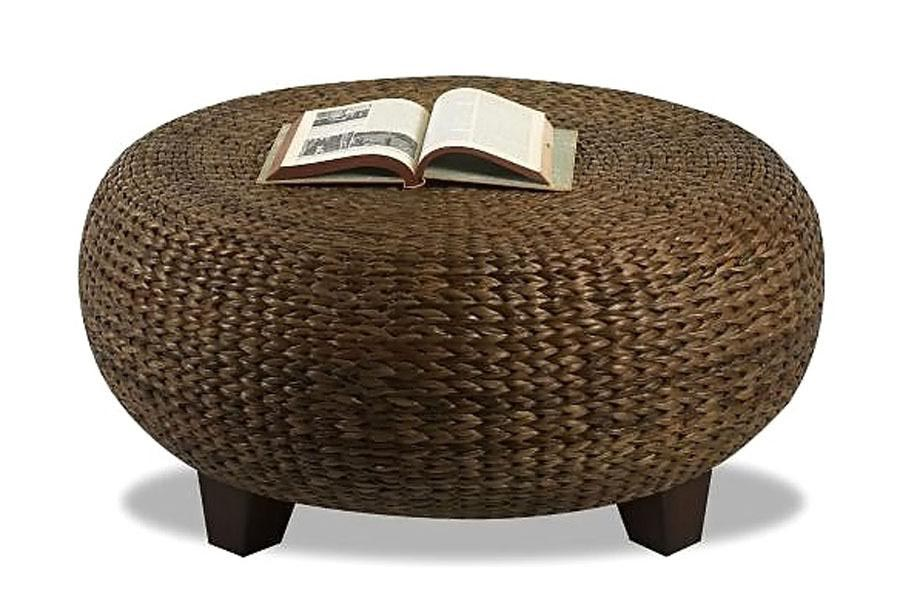 Round Rattan Ottoman Coffee Table