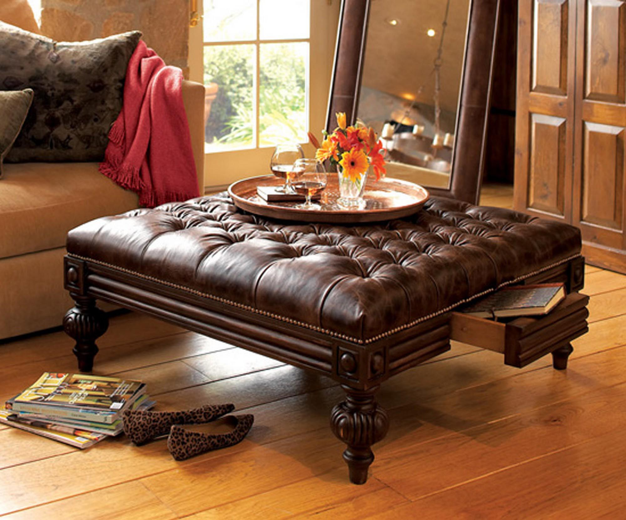 Leather Coffee Tables Ottomans