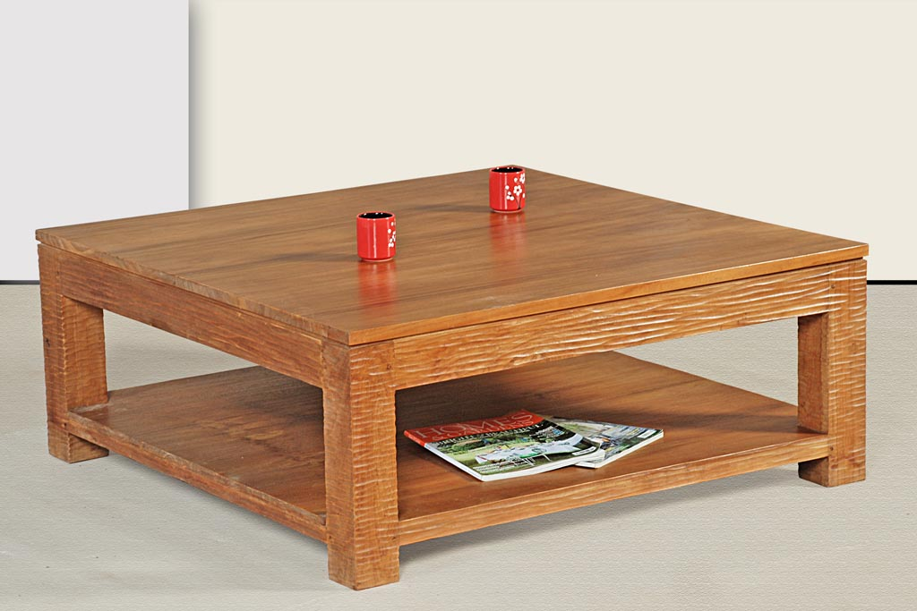 Square teak coffee table coffee table design ideas for Table in table