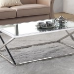 Stainless Steel Coffee Table with Glass Top