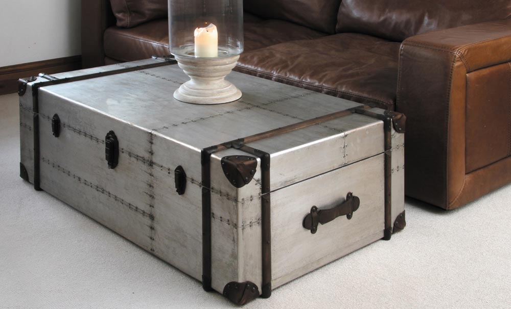 Steel trunk coffee table coffee table design ideas Metal chest coffee table