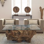 Teak Root Coffee Table Glass Top