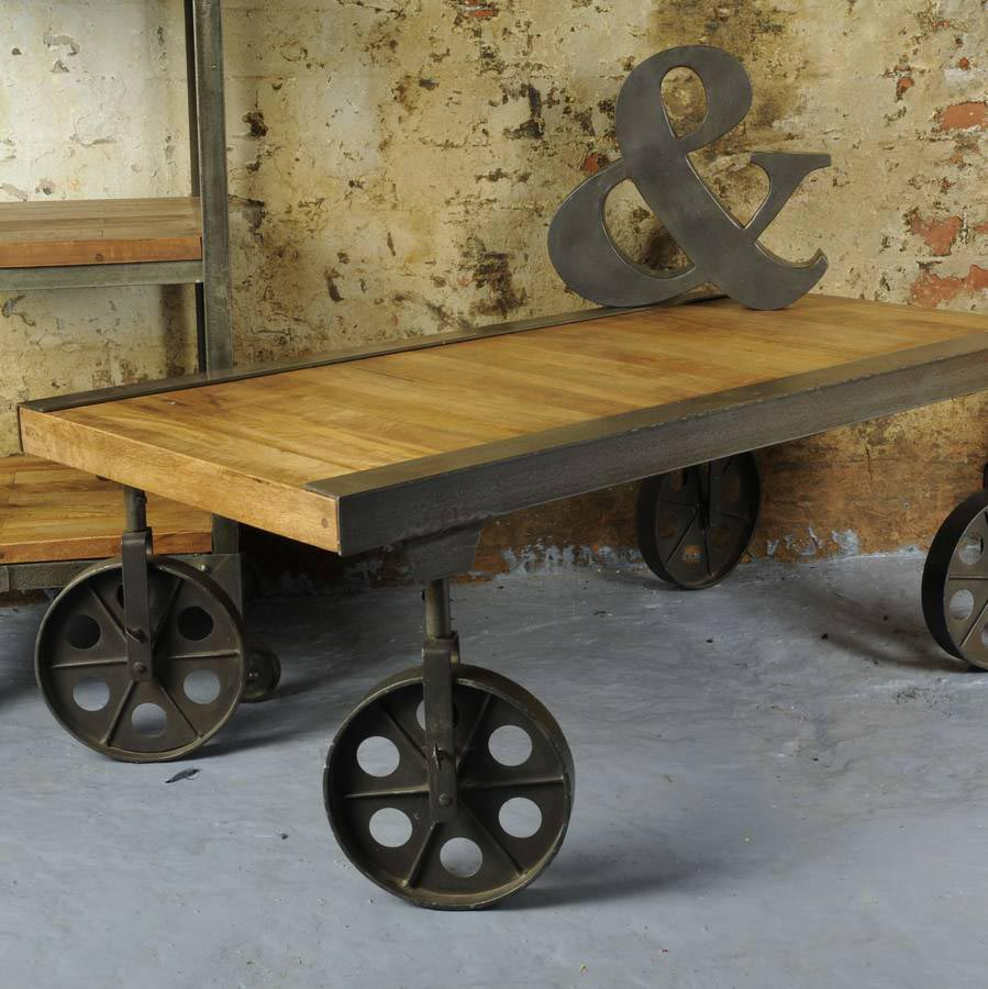 Vintage coffee table with wheels coffee table design ideas Antique wheels for coffee table