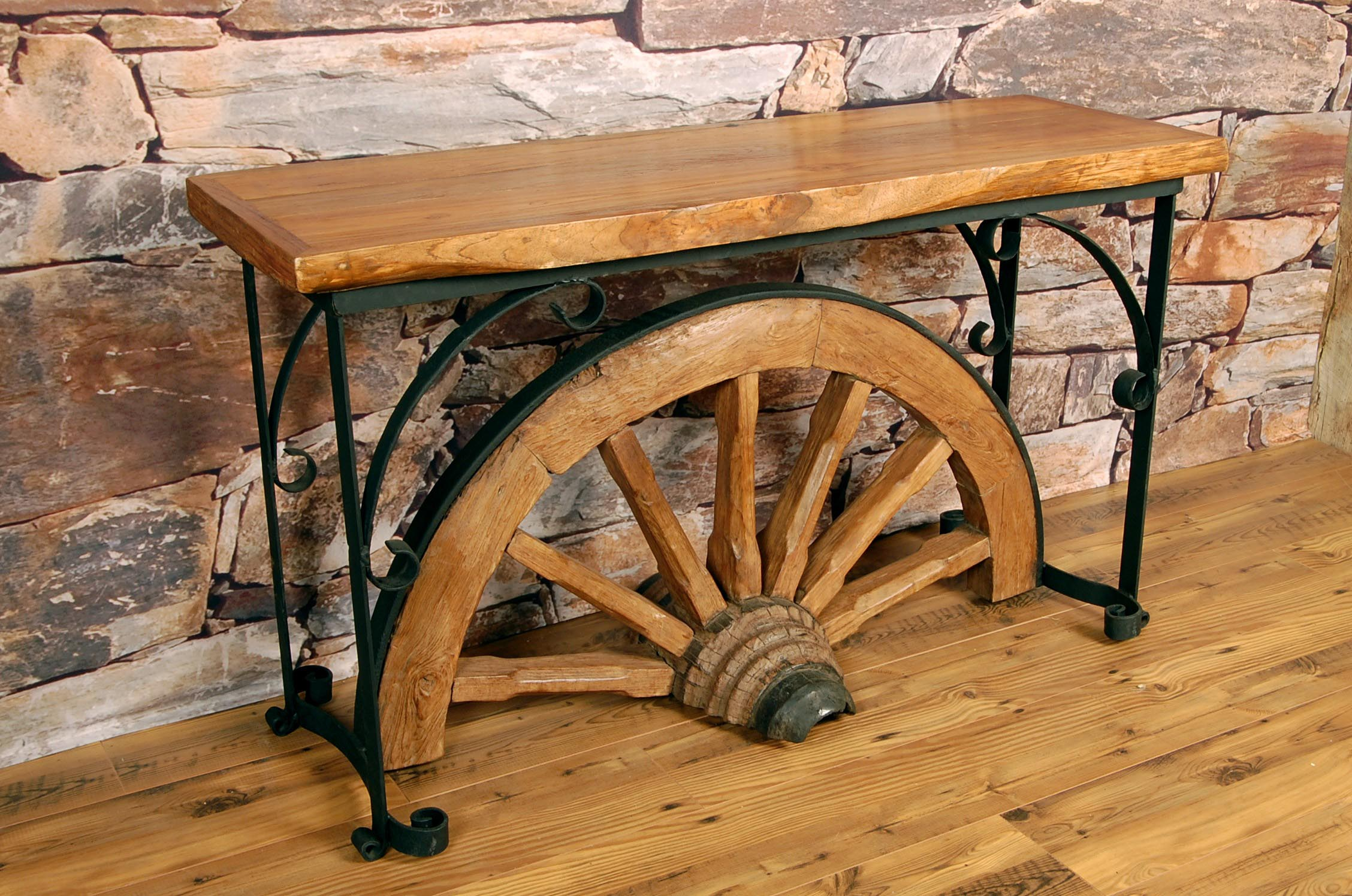 Wooden Wheel Table ~ Wagon wheel coffee table design ideas
