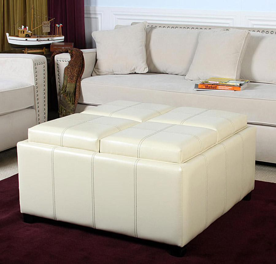White Leather Coffee Table