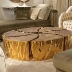 Wood and Gold Coffee Table