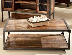 Wood Steel Coffee Table