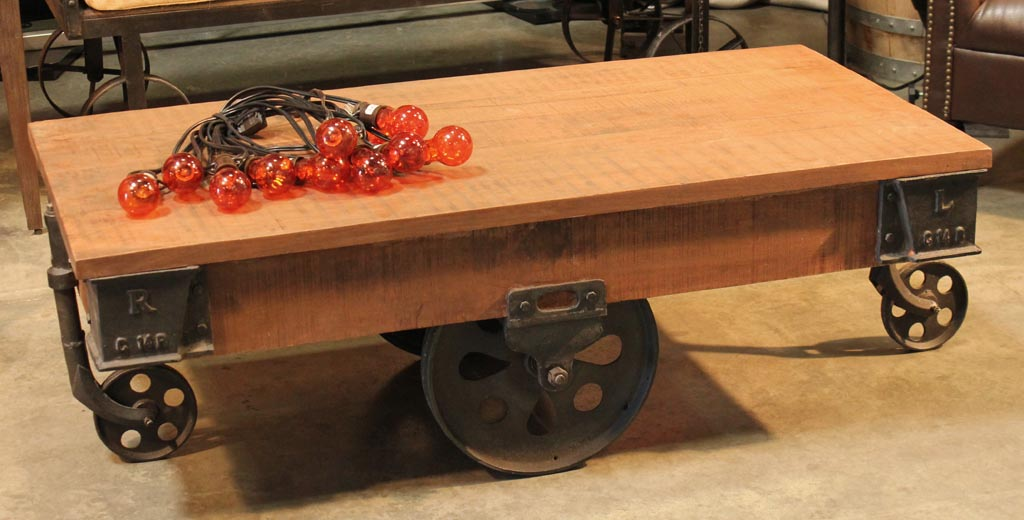 Wooden Coffee Table with Wheels